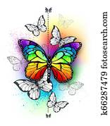 Composition with rainbow butterfly