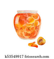 Peach jam in the jar. Apricots cut in sweet syrup. Watercolor illustration