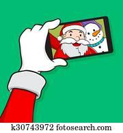 Santa claus with Snowman selfie