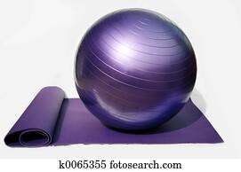 yoga ball and mat