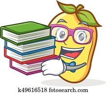 Student with book mango character cartoon mascot