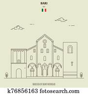 Basilica of Saint Micholas in Bari, Italy. Landmark icon