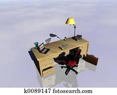 Desk reflecting.