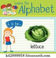 Flashcard letter L is for lettuce