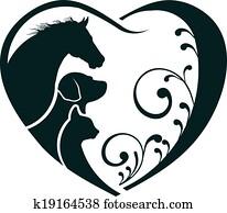 logo, horse,, hund, und, katz, lieben herz