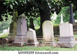 Tombstones in Cemetary