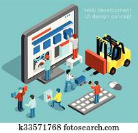 Web development and UI design vector concept in flat 3d isometric style