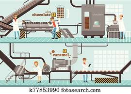 Chocolate and Caramel Factory Production Process Set, Sweets Confectionery Industry Equipment Vector Illustration