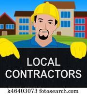 Local Contractors Showing Neighborhood Contractor 3d Illustration