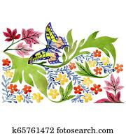 Red and yellow botanical flowers with butterfly. Watercolor background set. Isolated ornament illustration element.