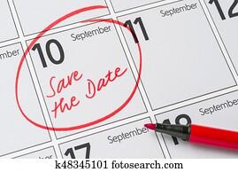 Save the Date written on a calendar - September 10