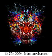 Abstract colorful tiger