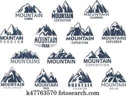 berg, tourismus, und, sport, vektor, heiligenbilder, satz