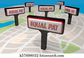 Equal Pay Fair Employment Salary Equality Signs 3d Illustration
