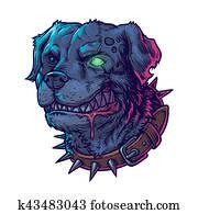 illustration of evil mad dog