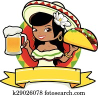 Mexican woman with beer and taco. Vector Illustration