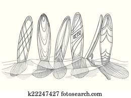Surfboards in sand sketch