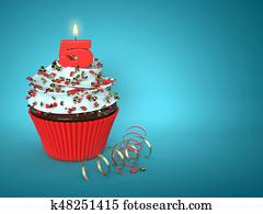 3d cupcake with number 5 candle over blue