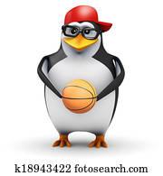 3d Penguin holds basketball