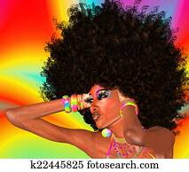 Afro Girl, Abstract Background