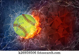 Baseball ball in fire and water