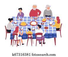 familie, tisch, festlicher, nachtessen, eltern, und, kindern, gro?eltern