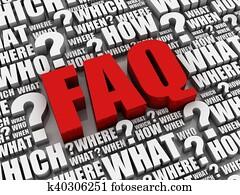 faq question letters 3d illustration