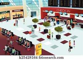 Inside the airport scene