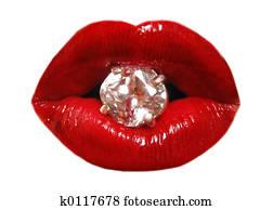 lips and diamond