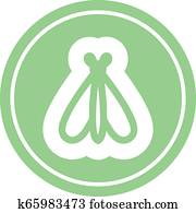 fliegenden insekt, kreisrunder, symbol