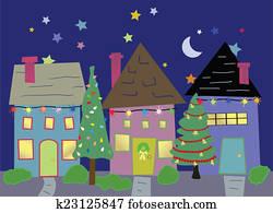 Houses at Christmas time