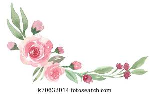 Loose Watercolor Floral Corner Bouquet with Peonies