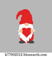 Cute Gnome with heart in red hat for Valentine s day cards, gifts, t-shirts, mugs, stickers, scrapbooking crafts and design.