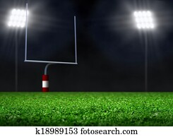 Empty Football Field with Spotlight