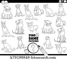 find two same dogs characters task color book