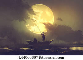 fishermen with fishing rod on boat and big moon on background
