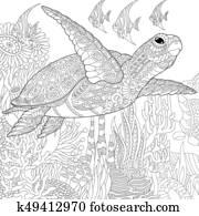 Zentangle stylized turtle and fish