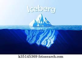 eisberg, in, wasserlandschaft
