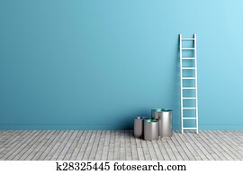 ladder and paint buckets by the wall