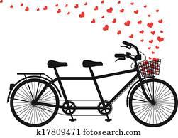 tandem fahrrad, mit, rot, herzen