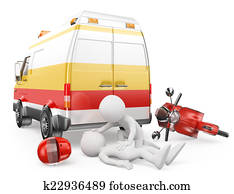3D white people. Ambulance in a motorcycle accident