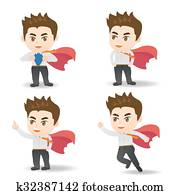 Business man act as superman