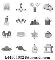 Canada icons set, monochrome style