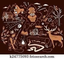 dass, legende, von, bigfoot