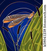 Dragonfly on cattails aboriginal art vector painting