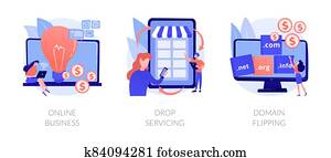 Online business abstract concept vector illustrations.