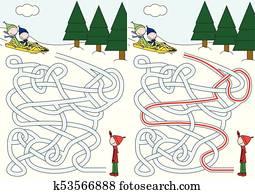 schlitteln, labyrinth