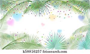 Sukkot festival frame palm leafs tropical