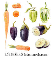 Watercolor vegetable set