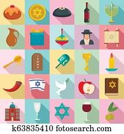 Happy hanukkah icon set, flat style